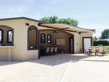 Retractable Awning Open on Cabana