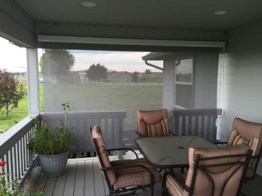 Grey Cable Guided Shade on Patio Deck