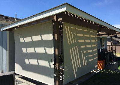 Solar Shades with Cable Guides on Wooden Pergola