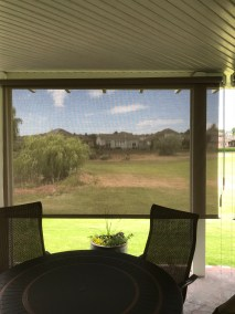 Mocha Solar Shade with View Right Side
