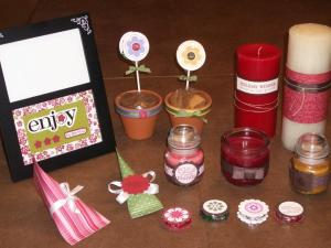 Embellished picture frame, flower pots (with actual seeds), decorated candles, chocolate filled containers, decorated york peppermint patties