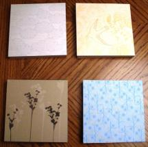 Four of the samplers with different pages shown