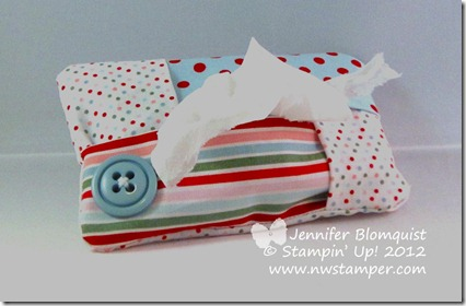stampin up fabric pocket tissue holder filled