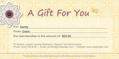 Stampin' Up! Gift Certificate