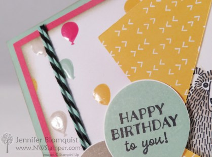 Bear Hugs with Party Pants Birthday Card close up