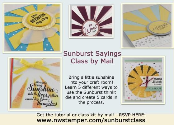 Sunburst Sayings class by mail ad light