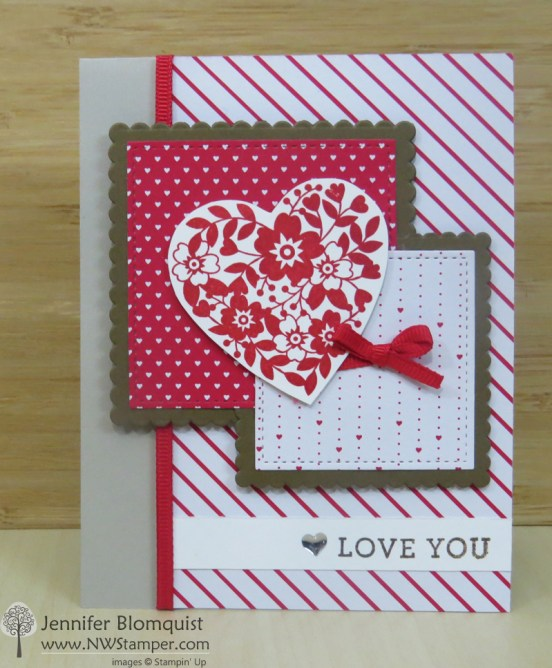 Sending Love valentine's card with the Stitched Shapes framelits