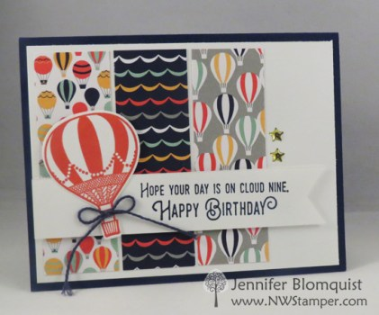 Pattern paper idea for Lift Me Up bundle birthday card - Jennifer blomquist, NWstamper.com