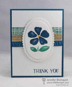 Using two styles of ribbon - Burlap and Rusched for texture on a thank you card - Jennifer Blomquist NWstamper.com