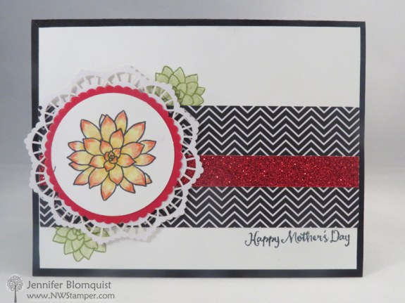 Mother's Day Card using the Oh So Succulent Stamp set and watercolor pencils - nwstamper.com