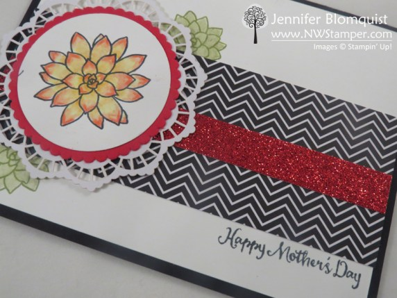 Mother's Day Card with the Oh So Succulent stamp set and Red glimmer paper