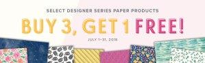 Buy 3 Get 1 Free Stampin' Up Designer Paper Promotion
