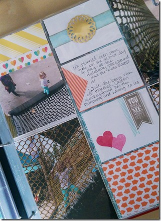 metallic doilies in Project Life scrapbook album