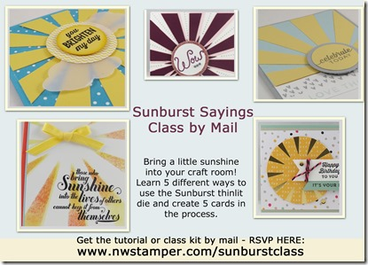 Sunburst Sayings class by mail ad light