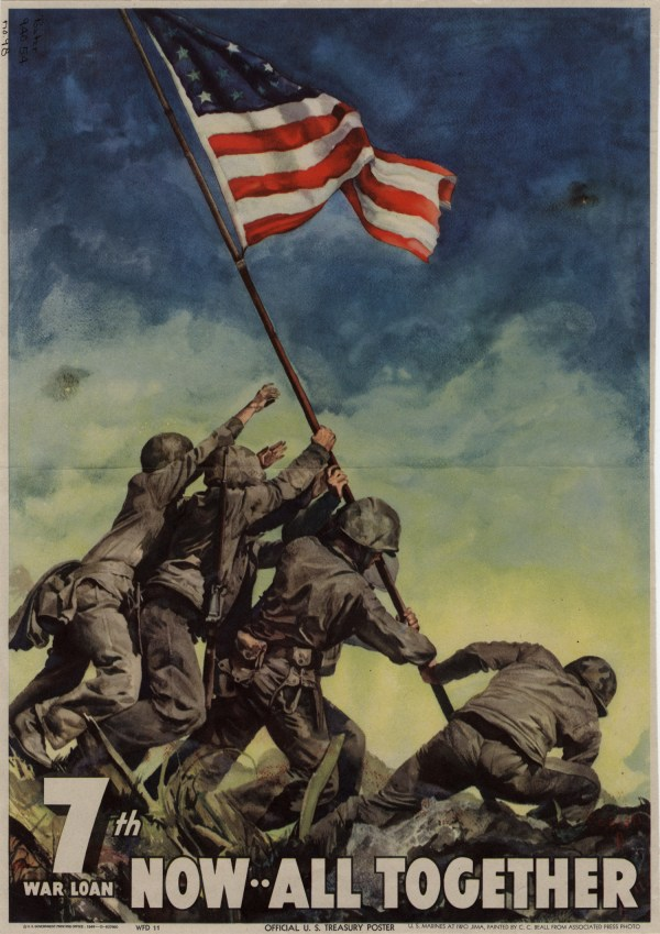 Wwii 7th War Bond Drive Poster Featuring Famous Flag