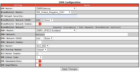 dmr config screen