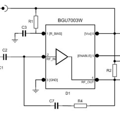 low noise amplifier evaluation board using bgu7003w matched to 50 om7800 product block diagram [ 1530 x 648 Pixel ]