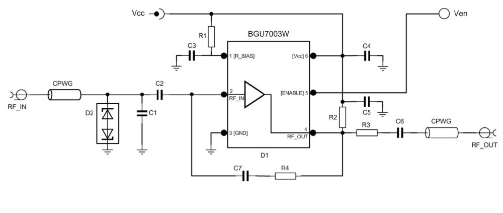 medium resolution of low noise amplifier evaluation board using bgu7003w matched to 50 om7800 product block diagram