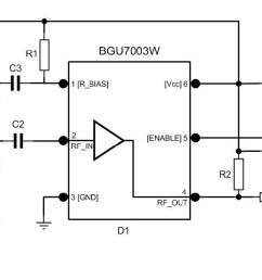 low noise amplifier evaluation board using bgu7003w matched to high om7800 product block diagram [ 1505 x 605 Pixel ]