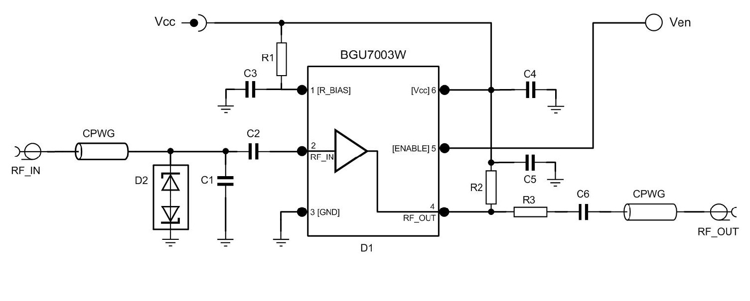 hight resolution of low noise amplifier evaluation board using bgu7003w matched to high om7800 product block diagram