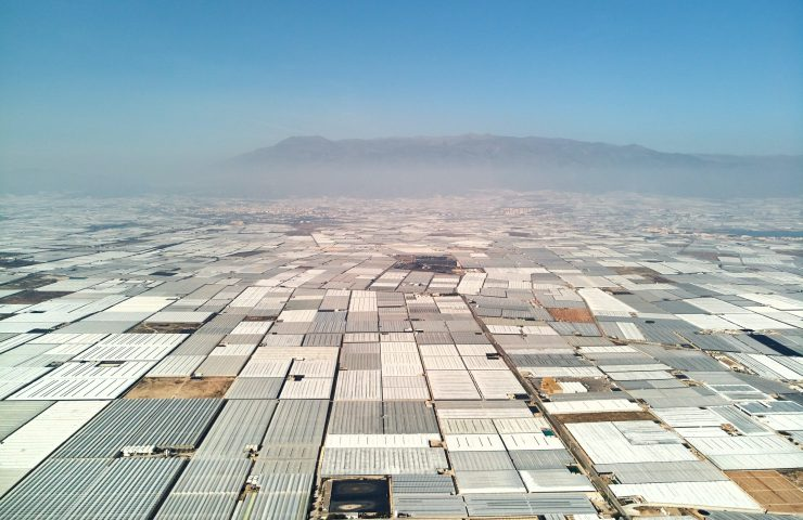 Lots of greenhouses seen from above