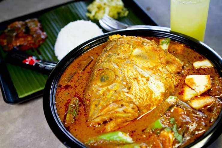 A serving of Fish Head Curry from Muthu's Curry