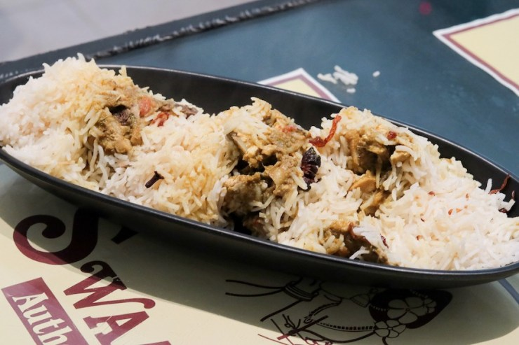 A serving of Bamboo Chicken Biryani from Swaadhist