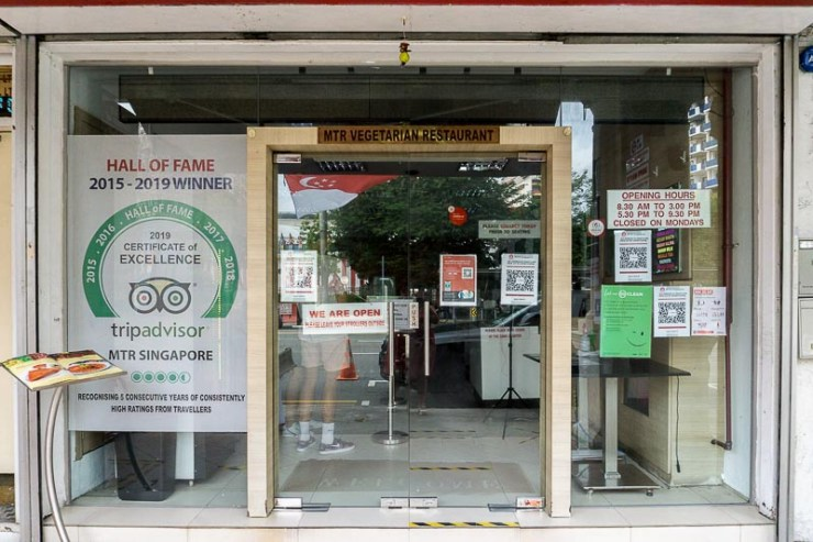 Exterior of award-winning restaurant offering authentic South Indian cuisine, MTR Singapore