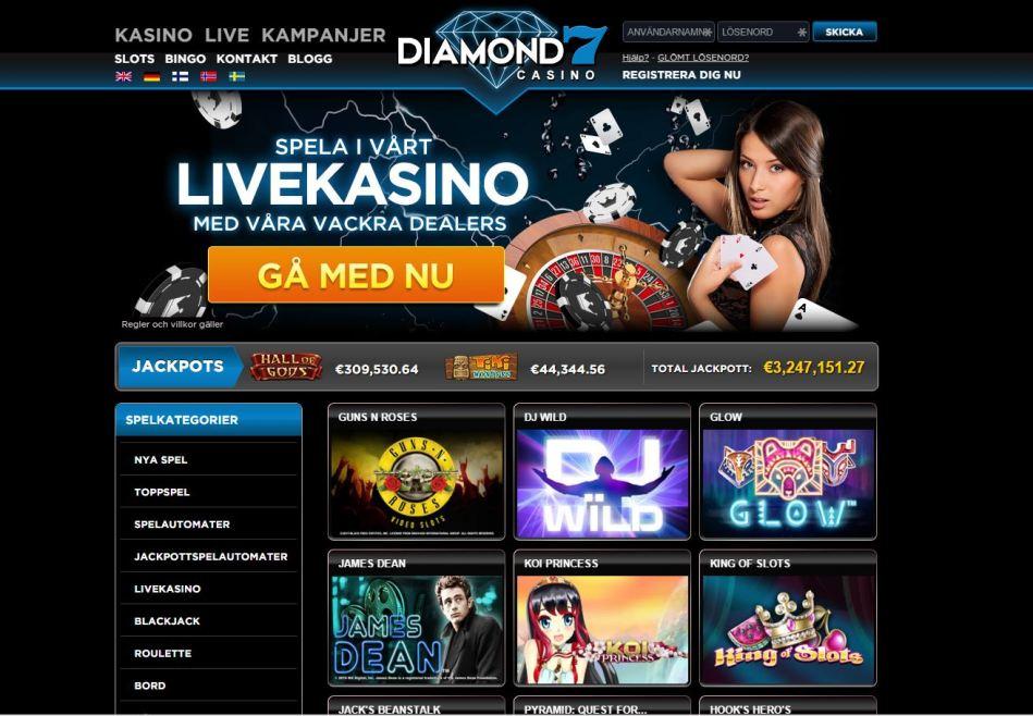 Spela och vinn med casino bonus hos Diamond7
