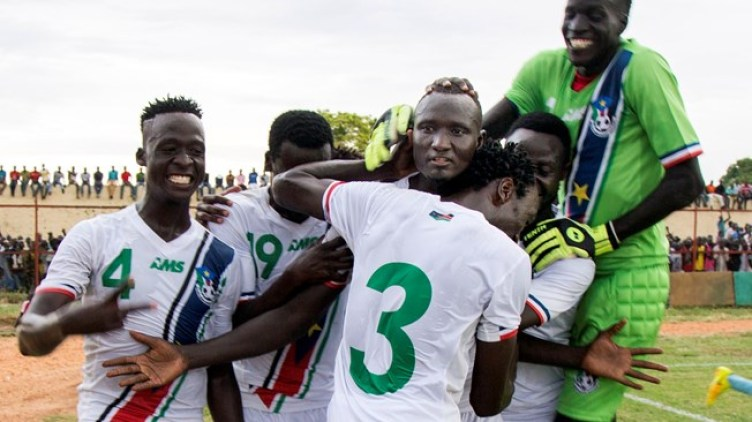 South Sudan football team celebrating a goal ....