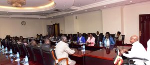 The President Yoweri Kaguta Museveni chairs a meeting with Various factions of the Sudan People's Liberation Movement (SPLM) that later signed the Entebbe Declaration to operationalize the Arusha Agreement on the reunification of the SPLM.(Photo credit: Nyamilepedia)