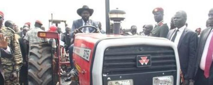 South Sudan's incumbent President General Salva Kiir testing out of one housands trucktors he claimed to have donated to farmers. As it turned, the year Salva Kiir donated trucks turned to be a year of famine and more South Sudanese died of hunger, starvation and wars(Photo: file)