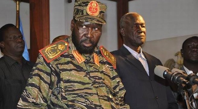 President Kiir addressing the nation on December 16 2013 as he announced what he called a coup by Riek Machar shortly before Juba Massacre hours later (photo: file/supplied/nyamilepedia)