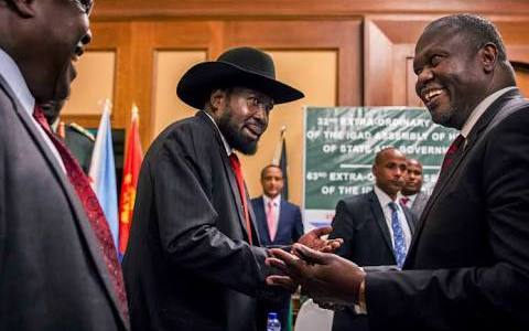 Kiir greets Machar and they meets in Addis Ababa for the first time since 2016 (File photo)