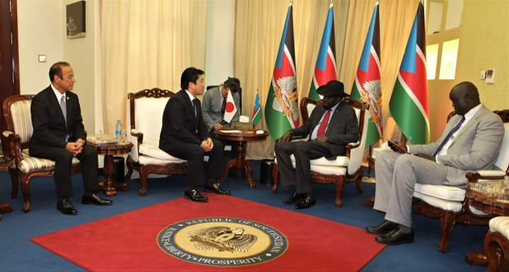 Japanese Defense Minister meeting President Salva Kiir at the state house in Juba on Thursday 16th August 2018 (File photo)