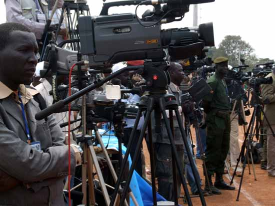 South Sudan journalists covering an unknown event in unknown location in South Sudan (File photo)