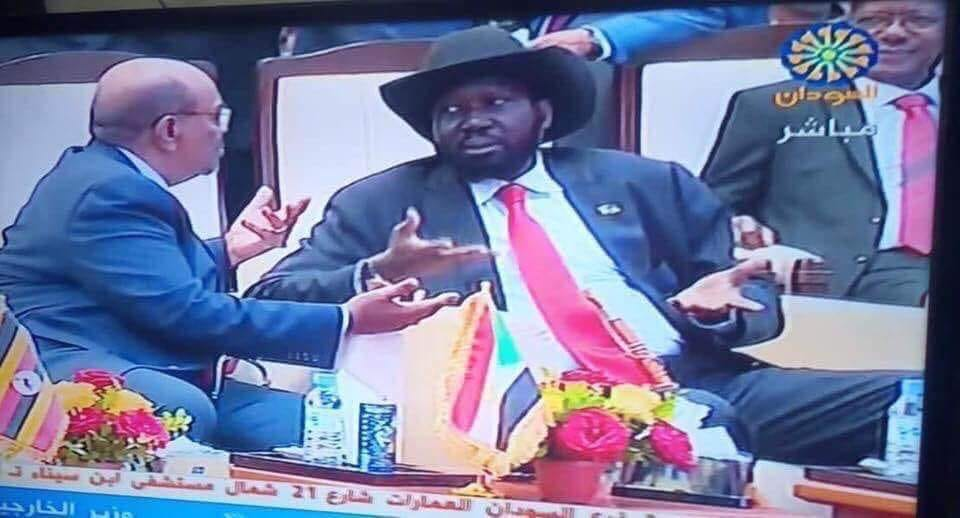 South Sudan President Salva Kiir pleads he did nothing wrong after refusing a handshake from Dr. Riek Machar Teny. He was talked into and later agreed(Photo: file/Nyamilepedia)