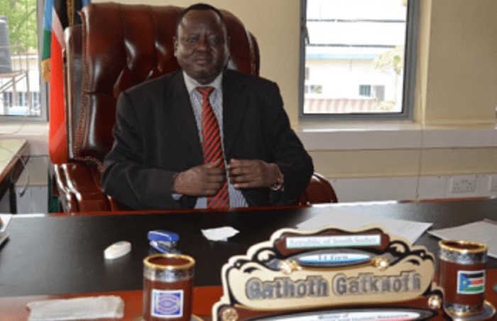 Former Minister of Labour and Public Service Gen. Gathoth Gatkuoth in his office. Gatkuoth served for a shortwhile as a minister following 4 years of rebellion fighting Salva Kiir government in Upper Nile region( photo: file)