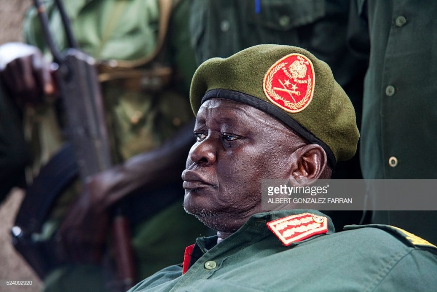 General Simon Gatwech Dual, the chief of staff of the Sudan People's Liberation Army in Opposition (SPLA-IO), talks to the press in Juba on April 25, 2016.  (Photo credit: ALBERT GONZALEZ FARRAN/AFP/Getty Images)