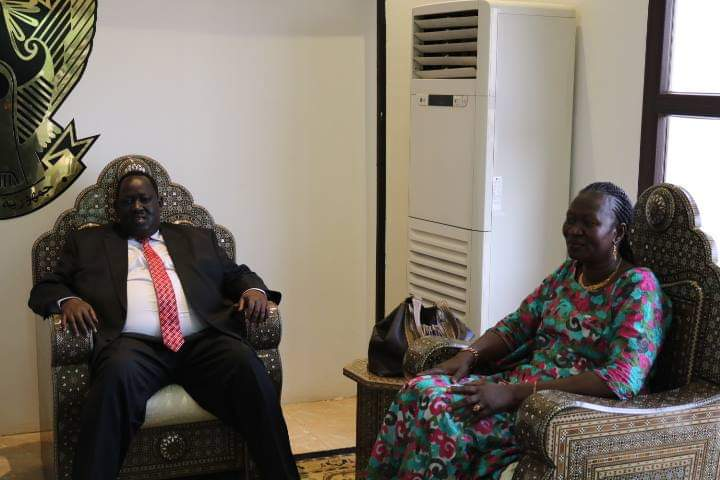 Chairman of NPTC, Tut Kew Gatluak and Awut Deng Acuil, the current Minister of Gender, Child and Social Welfare(Photo: file/Nyamilepedia)