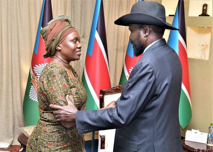 Angelina Teny meeting President Salva Kiir Mayardiit at the state house in Juba on Friday 21 December 2018 (File/Supplied/Nyamilepedia)