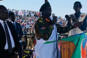 SPLA-IO DCOGS Gen. Koang Chuol speaking during peace celebrations in Northern Liech State capital Bentiu (File/Supplied/Nyamilpedia)