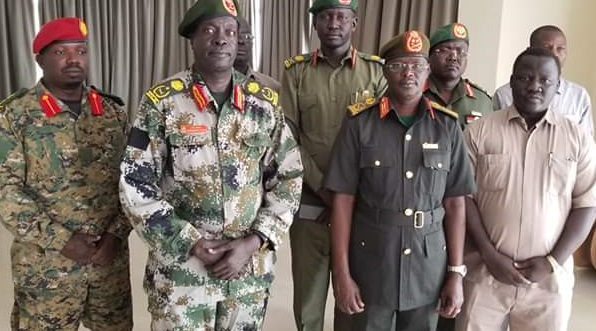South Sudan Cheif of Defense forces Gen. Jok Riak, right, and SPLA-IO Deputy Chief of Staffs for Administration and Logistic Gen. James Koang Chuol, left, in Juba on Tuesday, 8th of January 2019 (File/Supplied/Nyamilepedia)