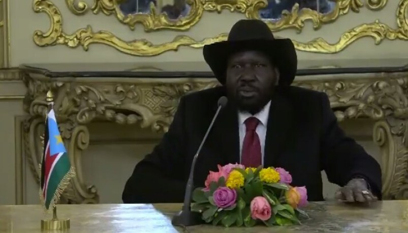 South Sudan President Salva Kiir, speaking to South Sudanese community respresentatives in Cairo on January 17th 2019 in Cairo, Egypt (File/Supplied/Nyamilepedia)
