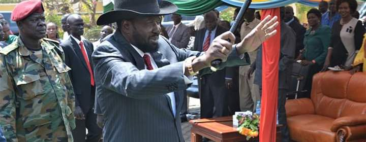 Kiir arriving at SPLM house in Juba for a meeting with members of SPLM Caucus in Parliament (File/Supplied/Nyamilepedia)