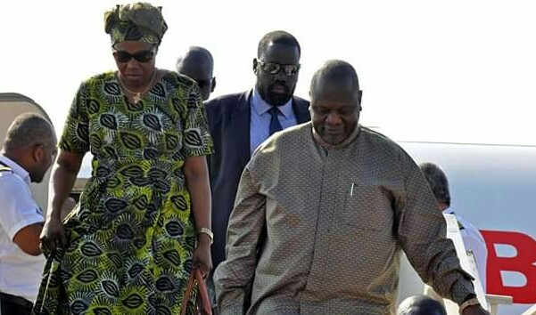 SPLM-IO leader Machar, right, and his wife, Angelina Teny, right, arrives in Juba for a government-sponsored peace celebration in October 2018 (File/Supplied/Nyamilepedia)