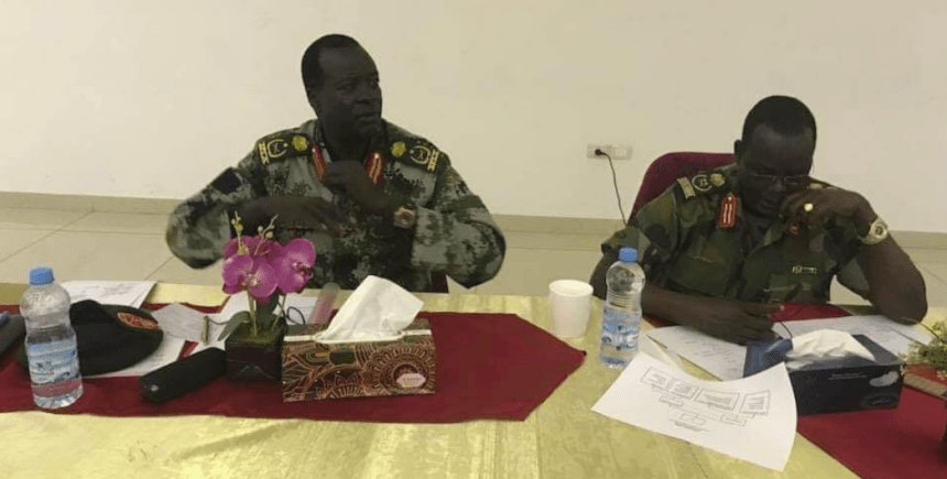 The SSPDF Chief of General Staff Gen. Gabriel Jok Riak, and the SPLA-IO's deputy chief of staff for administration Gen. James Koang Ranley holding a military conference in Juba, South Sudan(Photo credit: Nyamilepedia)