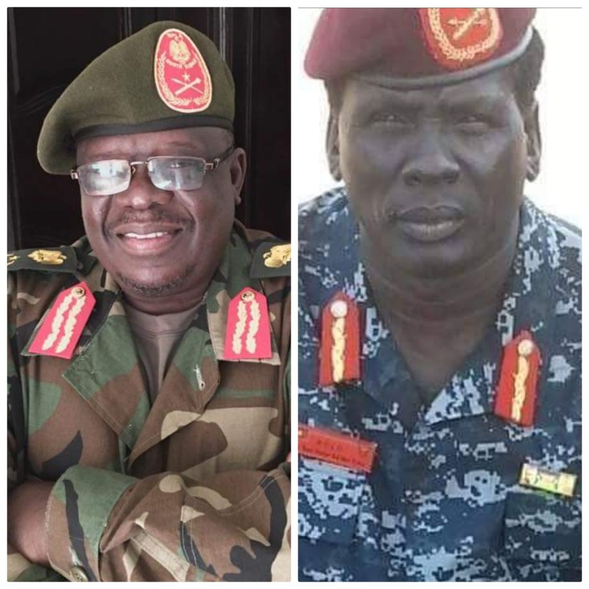 A photo image of Lt. Gen. Martin Kenyi, who felt in 2016 battles and Lt. Gen. Peter Gatdet Yaka who died on April 15th, 2019 in Khartoum, Sudan(Photo: file)
