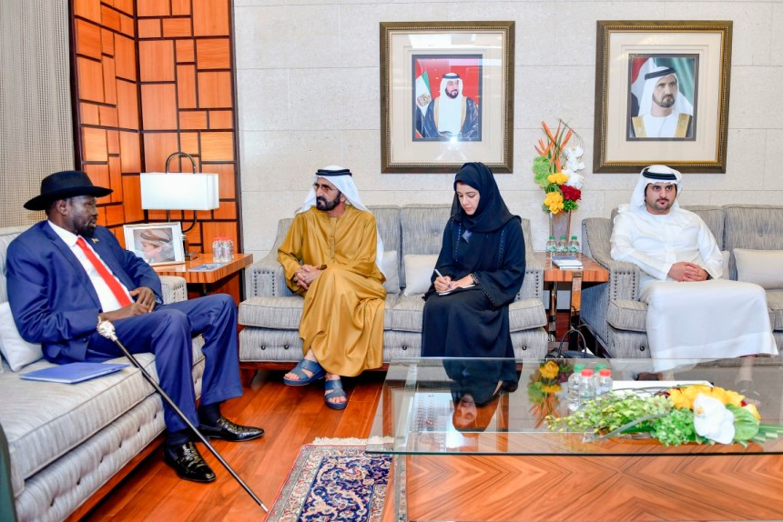 Sheikh Mohamed bin Zayed, Crown Prince of Abu Dhabi and Deputy Supreme Commander of the UAE Armed Forces (Back R), meets with Salva Kiir, President of South Sudan (Back L)(Photo credit: WAM/Hazem Hussein/Tariq alfaham)
