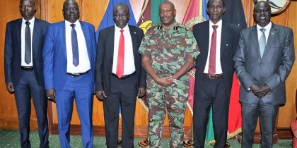 South Sudan's Inspector General of Police, Gen. Majak Akec Malok and his accompanying delegation on Friday paid a courtesy visit to Kenya's newly appointed IGP, Hillary Mutyambai, in his office in Nairobi, Kenya(Photo credit: File/Nyamilepedia)